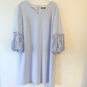Tahari Arthur Levine Blue Dress with Lace Sleeves